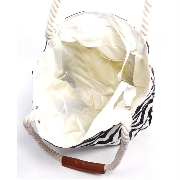 Black and white canvas chevron print zip top closure tote bag