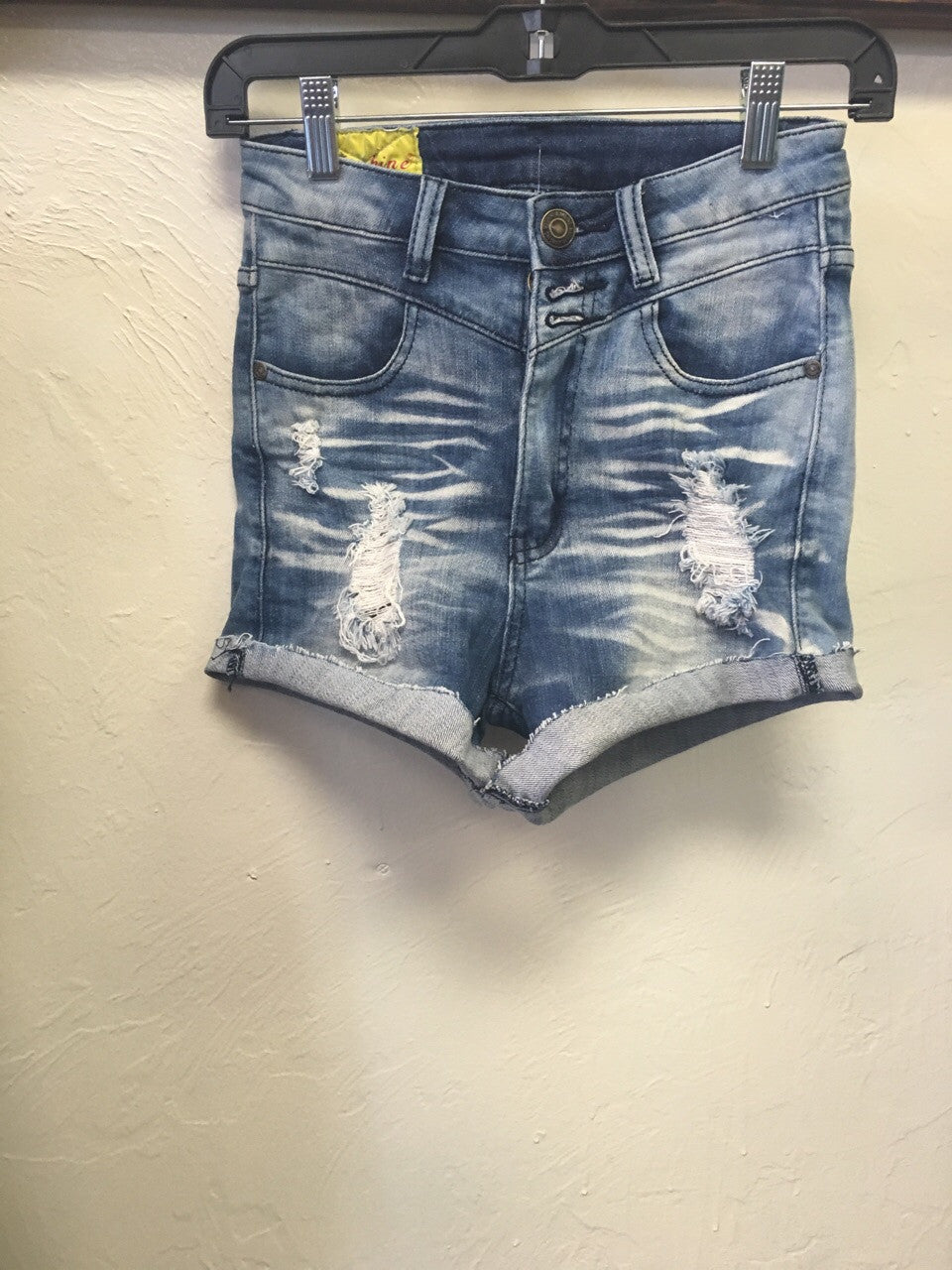 high waisted distressed rolled cuff denim jean shorts