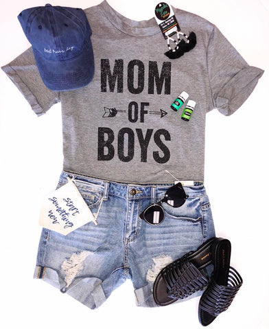 Mom Of Boys Graphic Tee - Gray