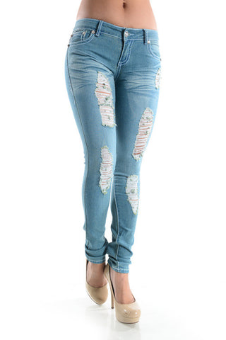 Kendra Distressed Jeans - Light Wash