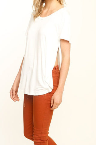 Long Beach Side Slit Top - White