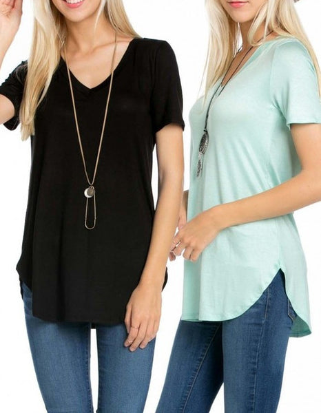 Girls Best Friend Vneck Top Black