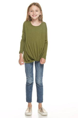 Olive Front Knot Top