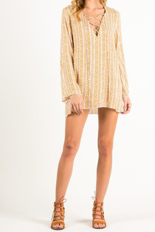 Luna Yellow Lace Up Tunic preorder