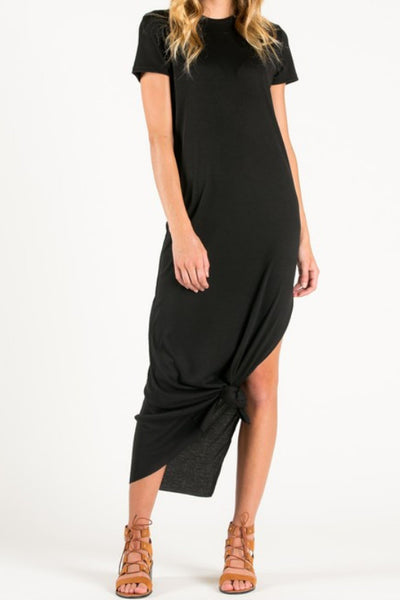 black short sleeve side slit maxi dress