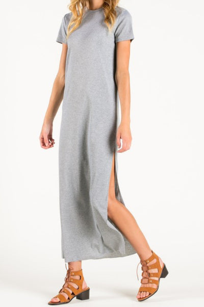 grey gray short sleeve side slit maxi dress
