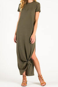 olive green short sleeve side slit maxi dress