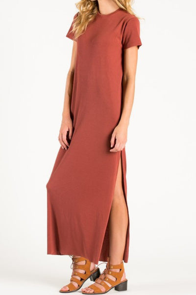 brick red short sleeve side slit maxi dress