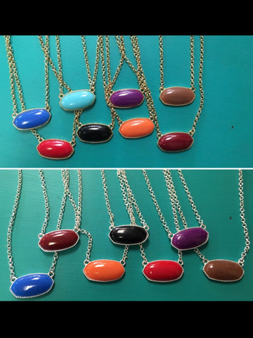 Single Polished Stone Necklaces