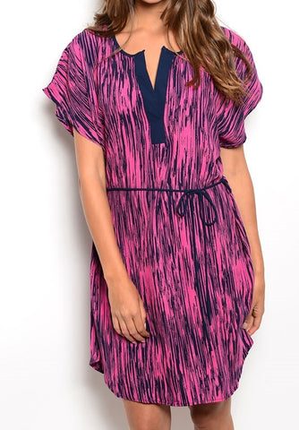 Vertical Navy and Pink Shift Dress