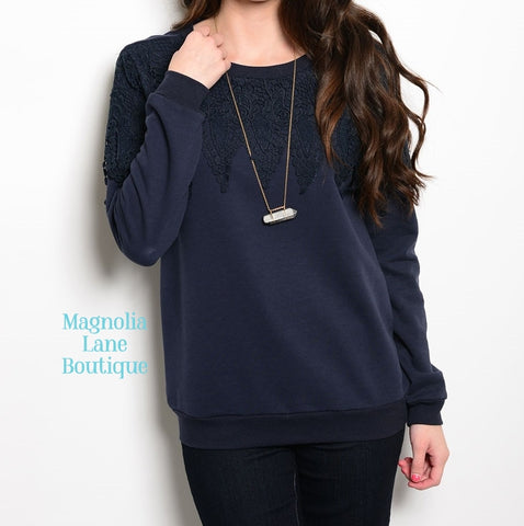 Crochet Top Navy Sweatshirt