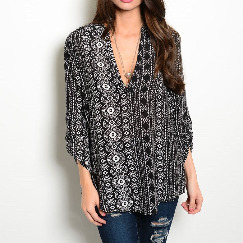 Black White Vertical Tunic
