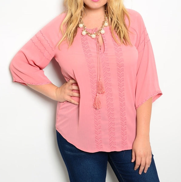 Camille Coral Tassel Top