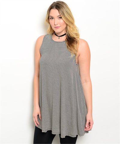 Skinny Stripes Curvy Tank Tunic