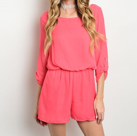 Hailey Coral Pink Romper