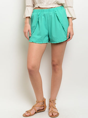 Mint Fringe Shorts