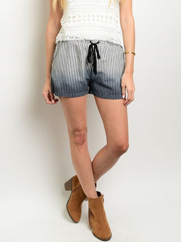 Ombre Striped Drawstring Shorts