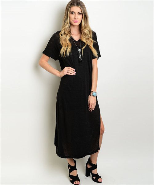 Burnout Black Vine Dress