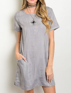 Grey Ink Zipper Back Dress