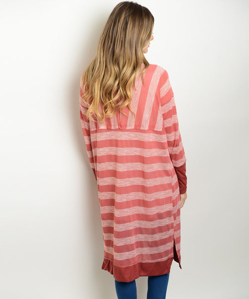 Rose Red Striped Cardigan