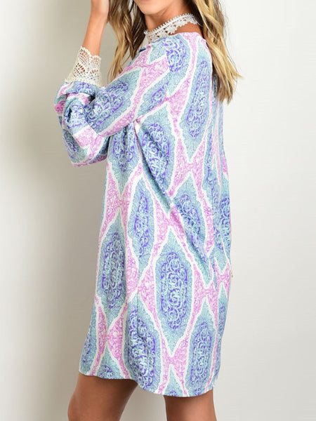 Long bell sleeve all over print chiffon pink and blue shift dress with crochet detail