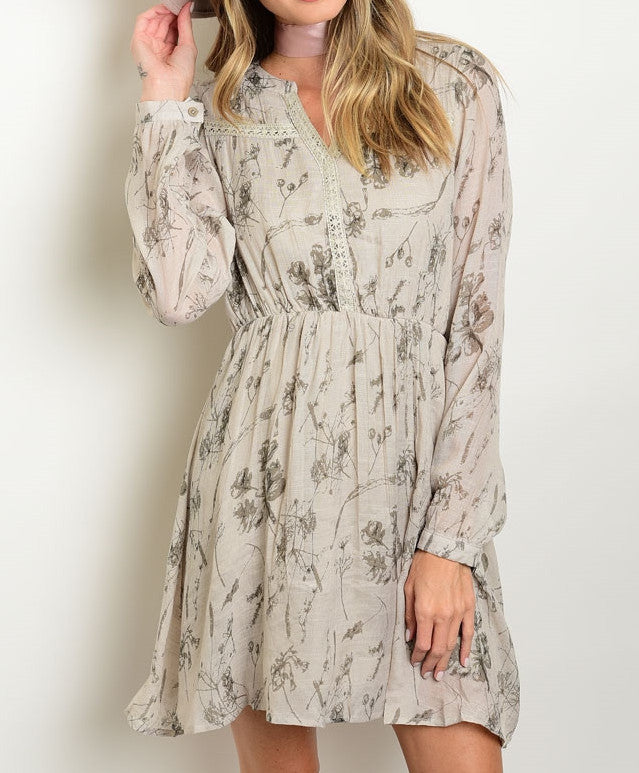 Kira Taupe Long Sleeve Boho Dress
