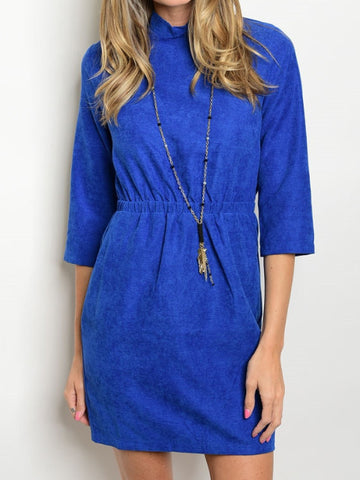 3/4 sleeve mock neck smocked waist blue suede like mini dress