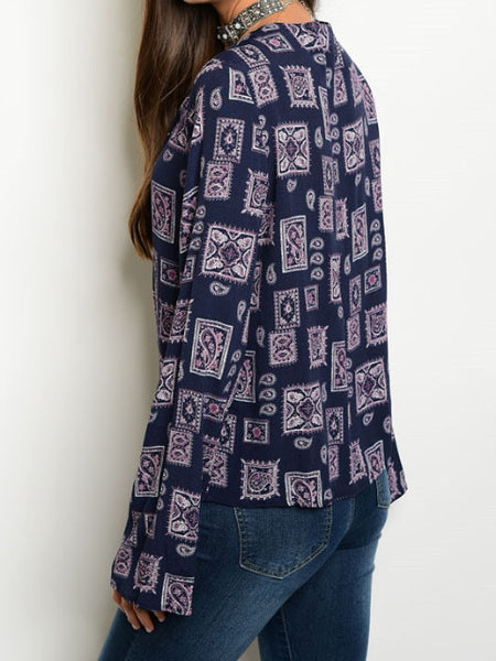 Wine Navy Lace Up Bell Sleeve Top