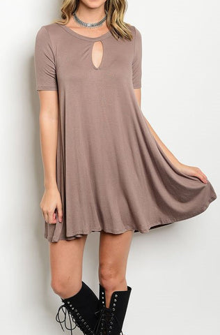 Sail Away Keyhole Dress - Cocoa