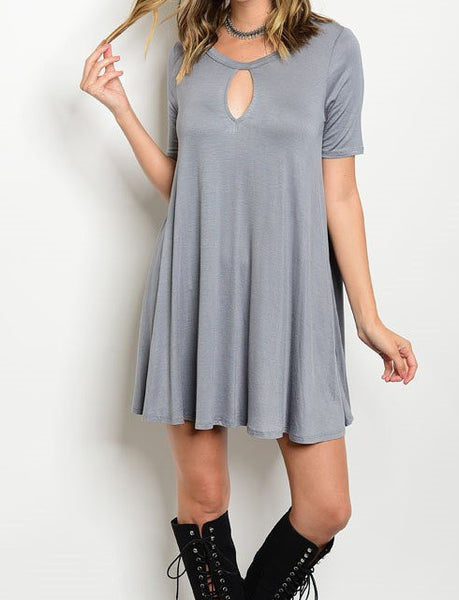 Sail Away Keyhole Dress - Silver Gray