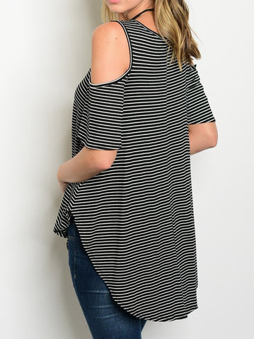 Short sleeve cold shoulder cutout striped jersey top
