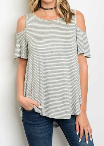 Caroline Cold Shoulder Top - Gray