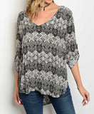 Moving Mountains Black and Taupe Tunic
