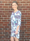 Poppins Ivory 3/4 Sleeve Floral Dress