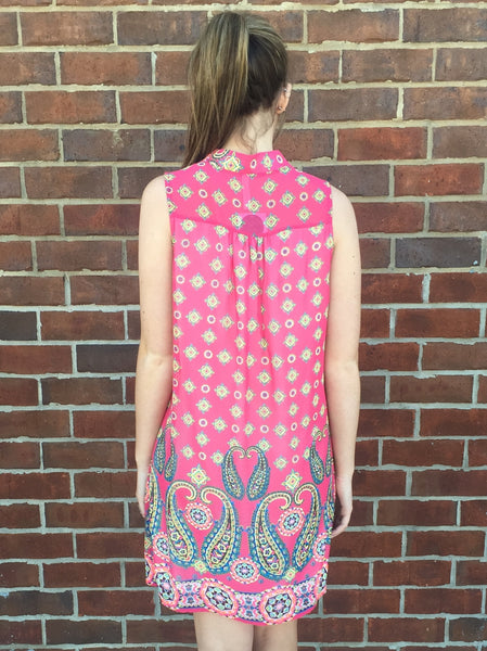 Paisley Pink Sleeveless Dress