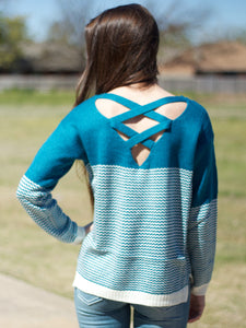 Teal Wave Cut Out Sweater