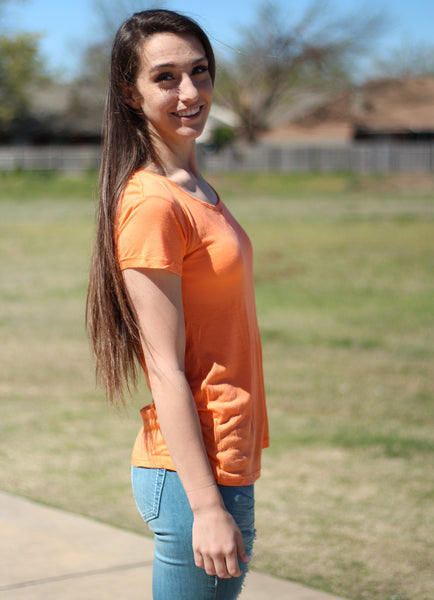 Tangerine Cross Back Top
