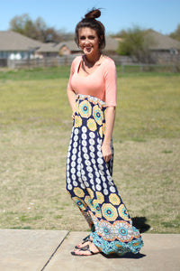 Peach Pattern Maxi Dress