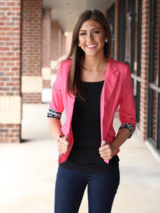bright coral pink aztec black blazer jacket