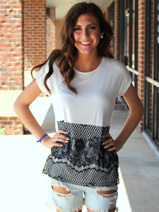 White and Black Lace Tunic Top
