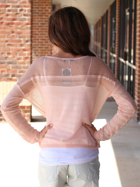 pink long sleeve sheer sweater top