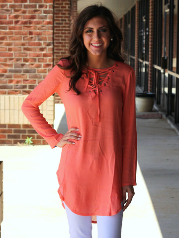 Reagan Tie Front Tunic Top