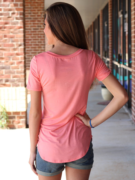 Teagan Vneck Top - Peach