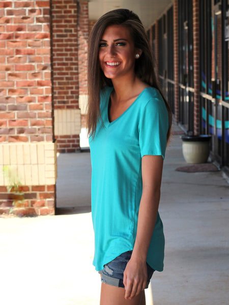 Teagan Vneck Top - Teal