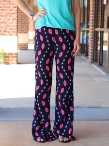 Pink Wave Bell Pants