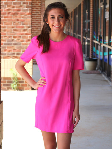 beautiful pink structured woven shift dress features a short sleeve with partially zipper back