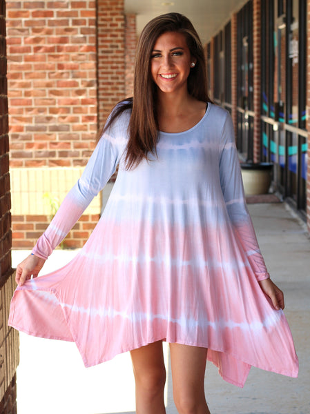 blue and pink transition tie dye long sleeve tunic dress