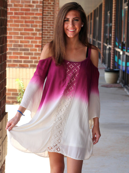 bohemian color change cold shoulder berry pink purple white dress