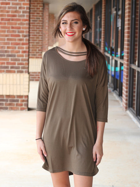 Everly Cutout Dress - Olive