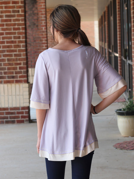 Maci White Trim Top - Purple
